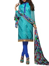 Blue Embroidered Chanderi Unstitched Churidar Suit Set - PARISHA