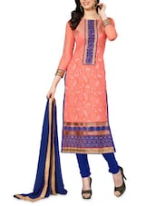 Floral Embroidered Peach Unstitched Suit Set - PARISHA