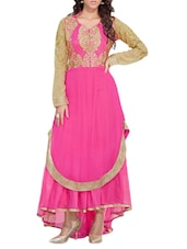 Pink Embroidered Georgette And Soft Net Semi Stitched Gown - PARISHA
