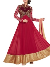 Red Embroidered Georgette Semi Stitched Gown - PARISHA