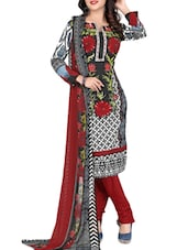 Multicolour Printed Crepe Unstitched Churidar Suit Set - PARISHA