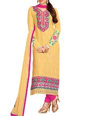 Yellow Embroidered Stain And Cotton Straight Salwar Suit Suit Set - PARISHA