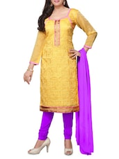 Yellow Embroidered Chanderi Unstitched Churidar Suit Set - PARISHA