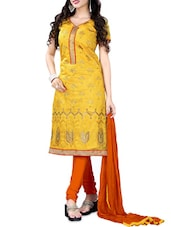 Yellow Embroidered Chanderi Unstitched Straight Suit Set - PARISHA