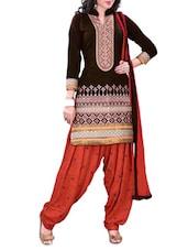 Black Embroidered Cotton Unstitched Patiala Suit Set - PARISHA