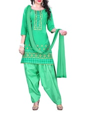 Green Embroidered Cotton Unstitched Patiala Suit Set - PARISHA