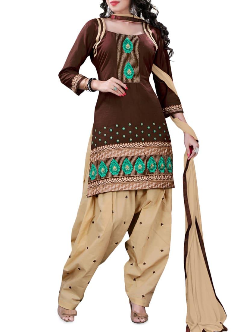 Brown Embroidered Cotton Unstitched Patiala Suit Set - PARISHA