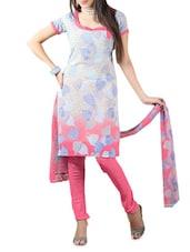 Multicolour Printed Cotton Unstitched Patiala Suit Set - PARISHA