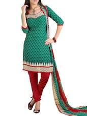Green Printed Cotton Unstitched Patiala Suit Set - PARISHA