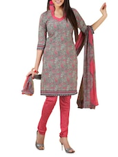 Grey Printed Cotton Unstitched Patiala Suit Set - PARISHA