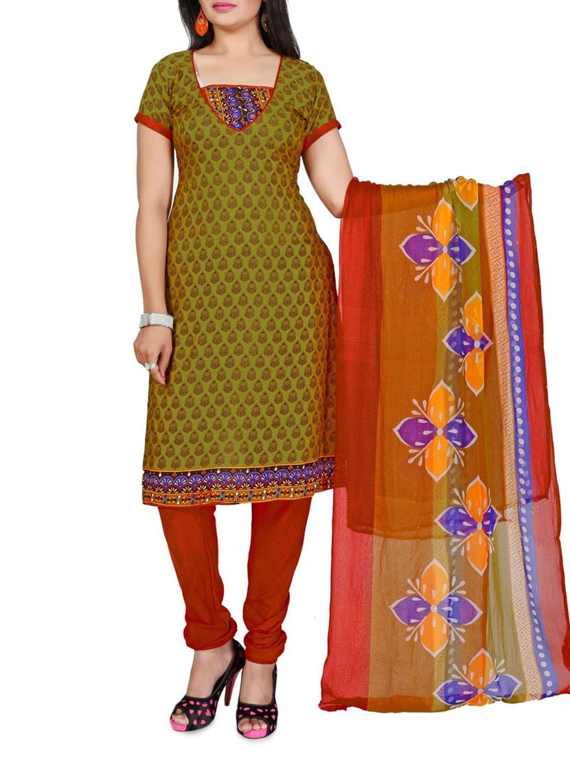 Green Printed Cotton Unstitched Patiala Suit Set - PARISHA