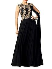Black Embroidered Georgette Semi-stitched Gown - PARISHA