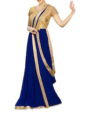 Blue Embroidered Georgette Semi-stitched Gown - PARISHA