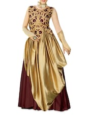 Gold Embroidered Georgette And Satin Semi-stitched Gown - PARISHA