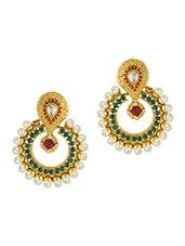 Multicolour Beaded Metallic Earrings - By