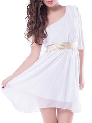 white single shoulder dress
