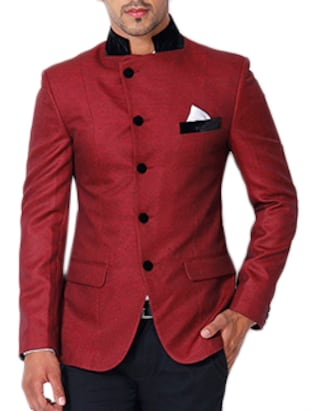 red cotton casual blazer
