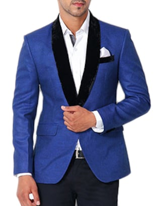 dark blue cotton casual blazer