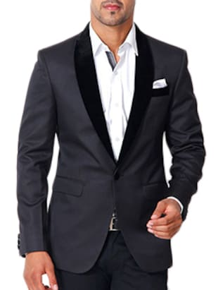 black cotton casual blazer