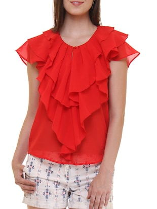 solid red crepe ruffled top