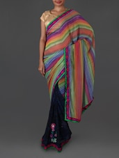 Floral Embroidered Striped Georgette Saree - Jmilan