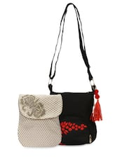 Set Of Off-white Bag And Black Sling Bag - By
