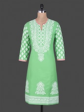 Quarter Sleeve Block Printed Funnel Neck Kurta - Vasavi