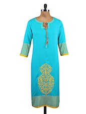 Blue Viscose Printed Kurta - By