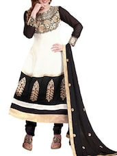 White Embroidered Georgette Anarkali Suit Set - Khushali