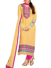 Yellow Embroidered Satin And Cotton Suit Set - Khushali