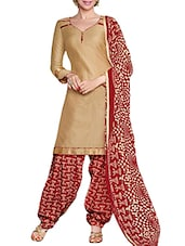 Beige Glaze Cotton Unstitched Dress Material - By