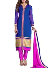 Blue And Pink Embroidered Georgette Unstitched Suit Piece - Khushali