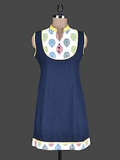 Blue Mandarin Collar Sleeveless Cotton Kurta - Taaga