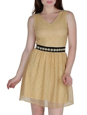 Beige Polyester  Sequined Dress - By