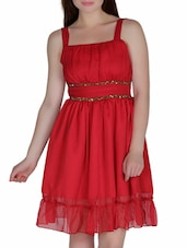 Red Polychiffon Sequined Dress - By