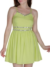 Green Polygeorgette Sequined Dress - By