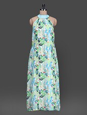 Digital Printed Sleeveless Silk Maxi Dress - HEART MADE