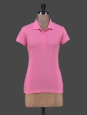 Solid Pink Polo Neck T-shirt - Trend 18