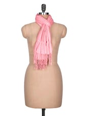 Baby Pink Hand Woven Cotton Scarf - By
