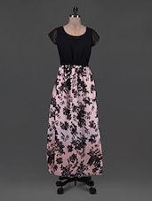 Round Neck Sheer Cap Sleeves Printed Maxi Dress - Eavan