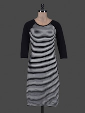 Raglan Sleeves Striped Viscose Lycra Dress - Eavan