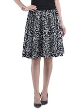 Black Poly Crepe Printed Flared Skirt - By