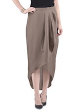 Brown Poly Crepe Solid High-Low Skirt - By