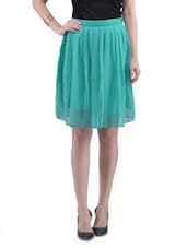 Blue Chiffon Solid Pleated Skirt - By