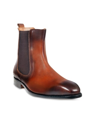 brown leather handicraft boot -  online shopping for Boots