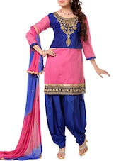 Embroidered Pink And Dark Blue Suit Set - Crazy