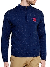 blue cotton blend pullover -  online shopping for Pullovers