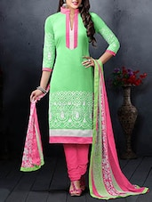 Embroidered Lime Green And Pink Suit Set - ZELLY