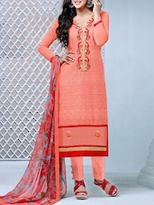 Embroidered Peach Cotton Suit Set - Crazy