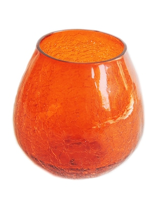 orange glass table candle stand